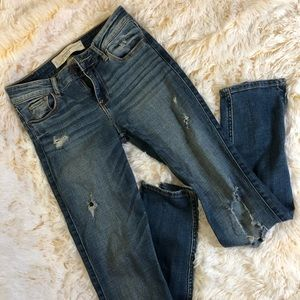 Destroyed abercrombie and fitch denim jeans